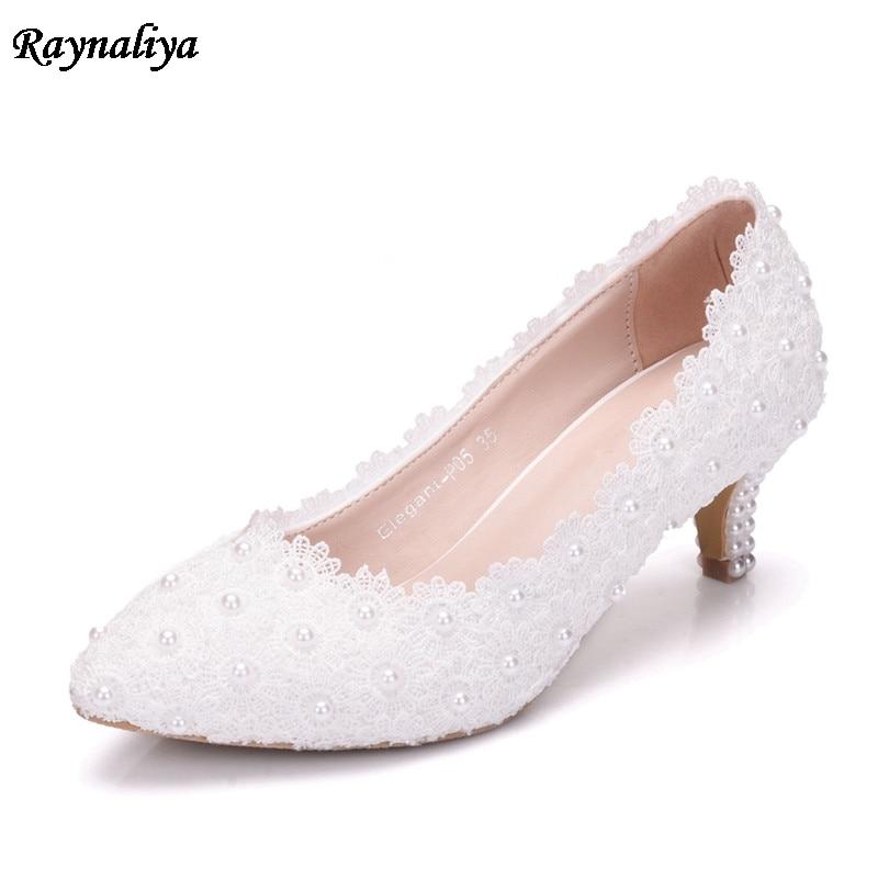 Hecho a mano de cuero Med tacones altos blanco encaje boda zapatos cristal novia zapato de tacón vestir 5cm de alto tacón de talla grande 43 XY-A0066