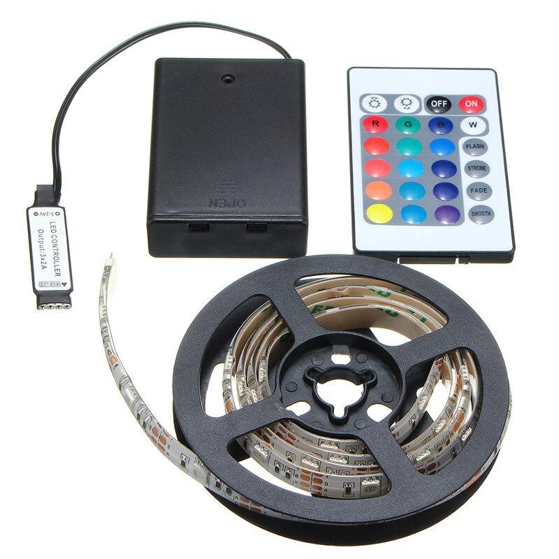 Tira de luz LED Mising RGB SMD 5050 batería impermeable/no impermeable tiras de luces LED 30 50 100 150 200 cm Control remoto