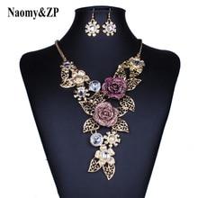 Naomy & ZP Rose fleur Collier grand grand Maxi déclaration gros colliers mariage mariée colliers mode bijoux femmes Collier