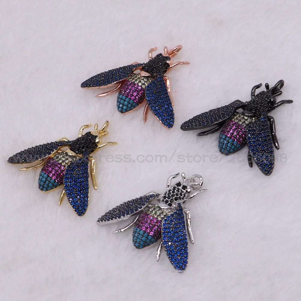 Wow! Alta qualidade inseto micro pave cz metal abelha inseto pingente mix cor lifelike abelha encantos jóias pingente moda 2683