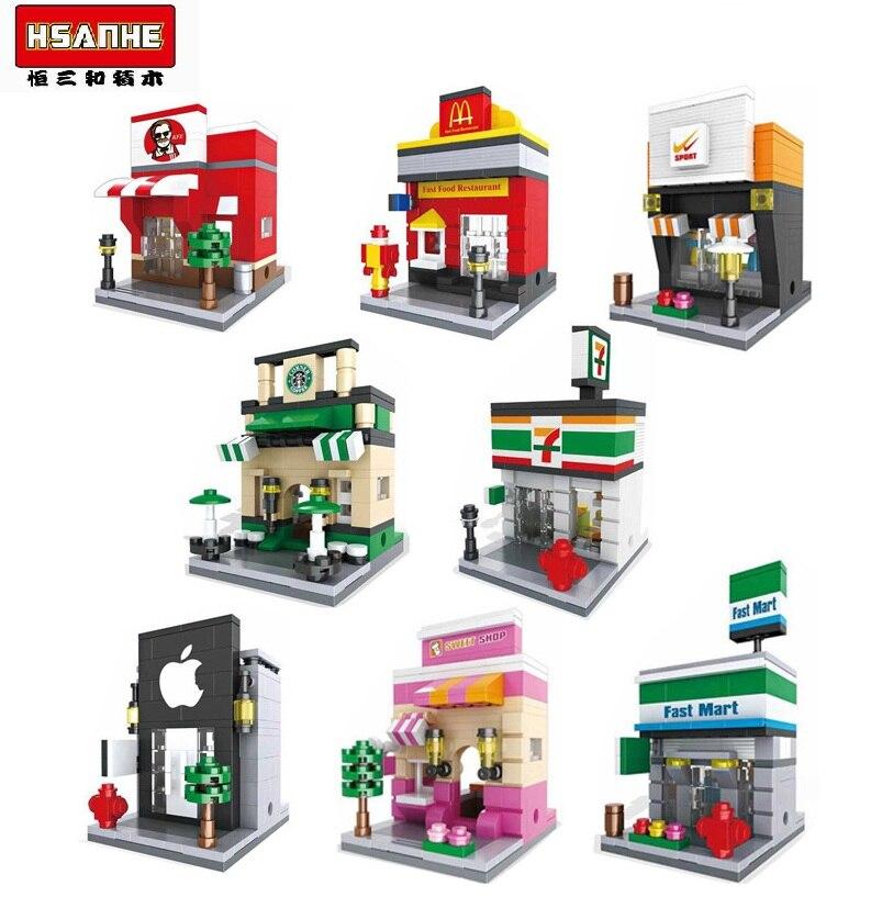 HSANHE Micro bloques calle Mini tienda bloques pequeña tienda 3D DIY construcción ladrillos Juguetes Mini subasta regalo niños 6401-6408