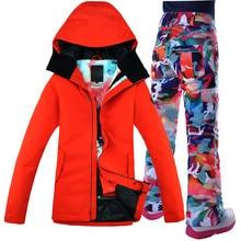 À prova de vento respirável impermeável snowboard jaqueta de neve + calças roupas quentes definir gsou neve terno de esqui feminino casaco escarlate
