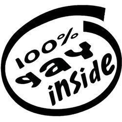 15.5x14.3cm 100% gay dentro humorístico vinil decalque preto/prata janela do carro adesivo carro-estilo S8-0773