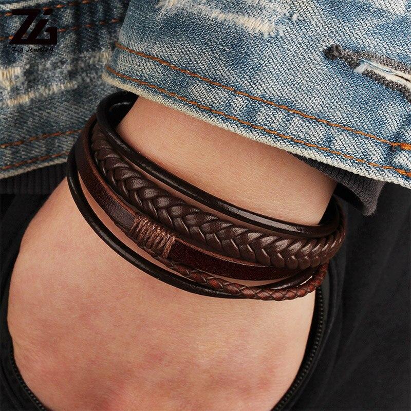 ZG Wholesale Men's Braided Leather Bracelets armband heren in Black and Brown Color with Magnetic Elegent Bracelet for Man