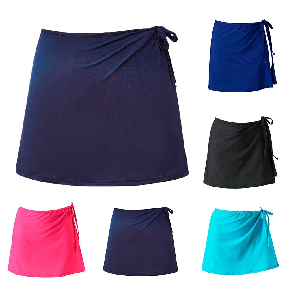Falda de mujer suelta envuelta verano vacaciones Sarong natación playa vestido desgaste sólido corto Bikini cubierta informal Up traje de baño