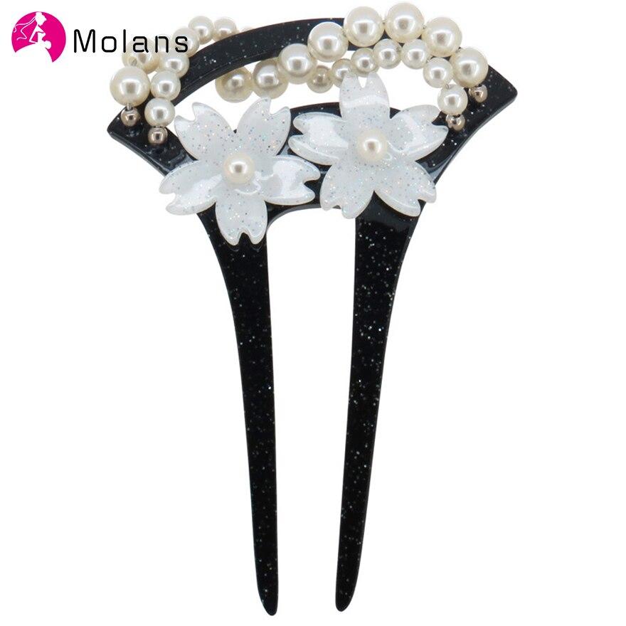 Molans Acrylic Classical Cherry Flower Hair Sticks Simulation Pearls Hair Clips Hairpins for Women Bride Hair Accessories