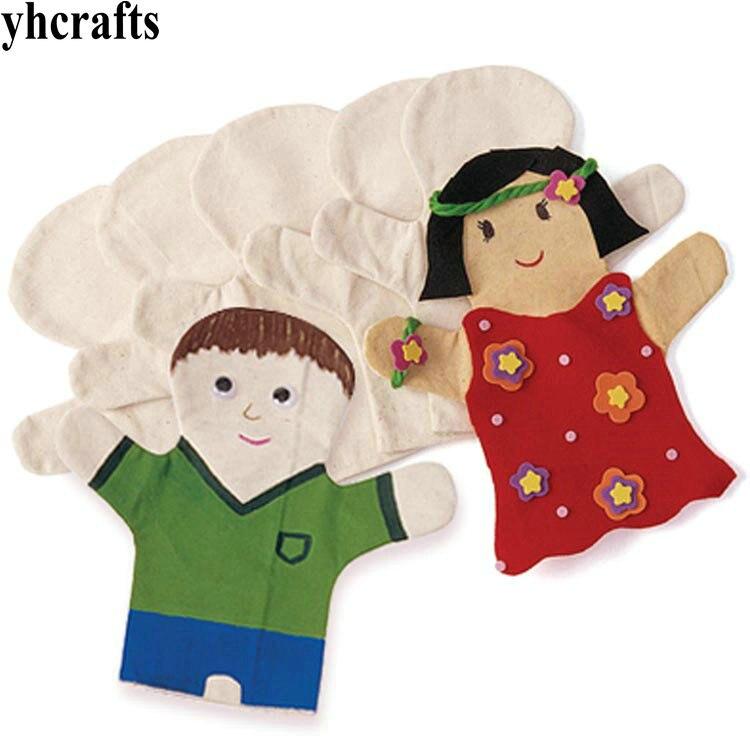 2 pièces/LOT. peignez votre propre marionnette à main marionnette cadeau danniversaire jouets de noël maternelle arts et jeux jouets éducatifs précoce OEM