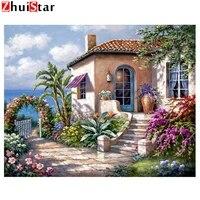 Peinture de diamant de paysage de broderie  bricolage  point de croix  couture  artisanat  strass carres  mosaique  decor de maison