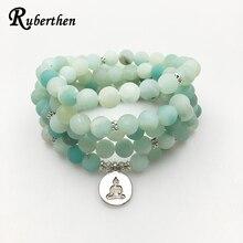 Ruberthen 2017 Новый дизайн AB + браслет из амазонита малы, модное ожерелье для йоги, Высококачественный Браслет из натурального камня ручной работы