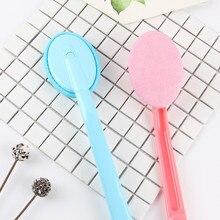 Práctico cepillo de baño de ducha aplicador de loción detergente esponja baño cepillo para espalda mango largo accesorio reemplazable 2 opciones de color