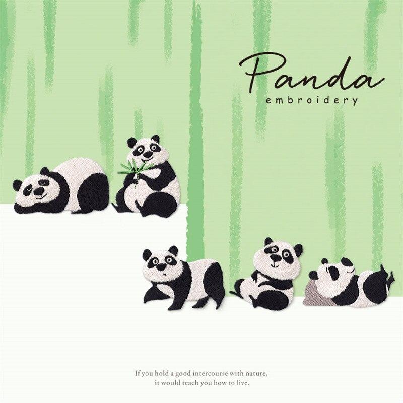 Parches de Panda Iron On para ropa Reparación de animales Breach bordado Applique sombrero DIY abrigo vestido pantalones accesorios pegatina de tela