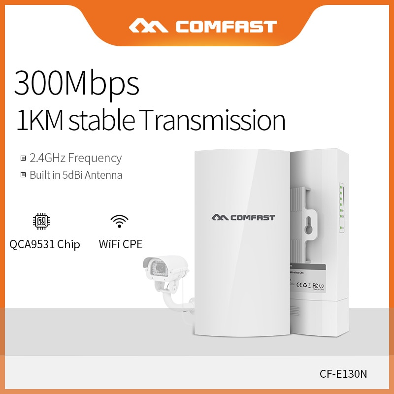 Comfast 2.4Ghz Wireless Outdoor CPE AP 1KM Long Range 300Mbs WI-FI Antenna High Power Wireless Bridge Access Point CF-E130N