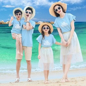 Summer Family Matching Outfits Dad Son Sets T-Shirt+Shorts 2PCS Mom Girls T-shirt+Skirt Sport Suit Beach Vacation Cotton Clothes