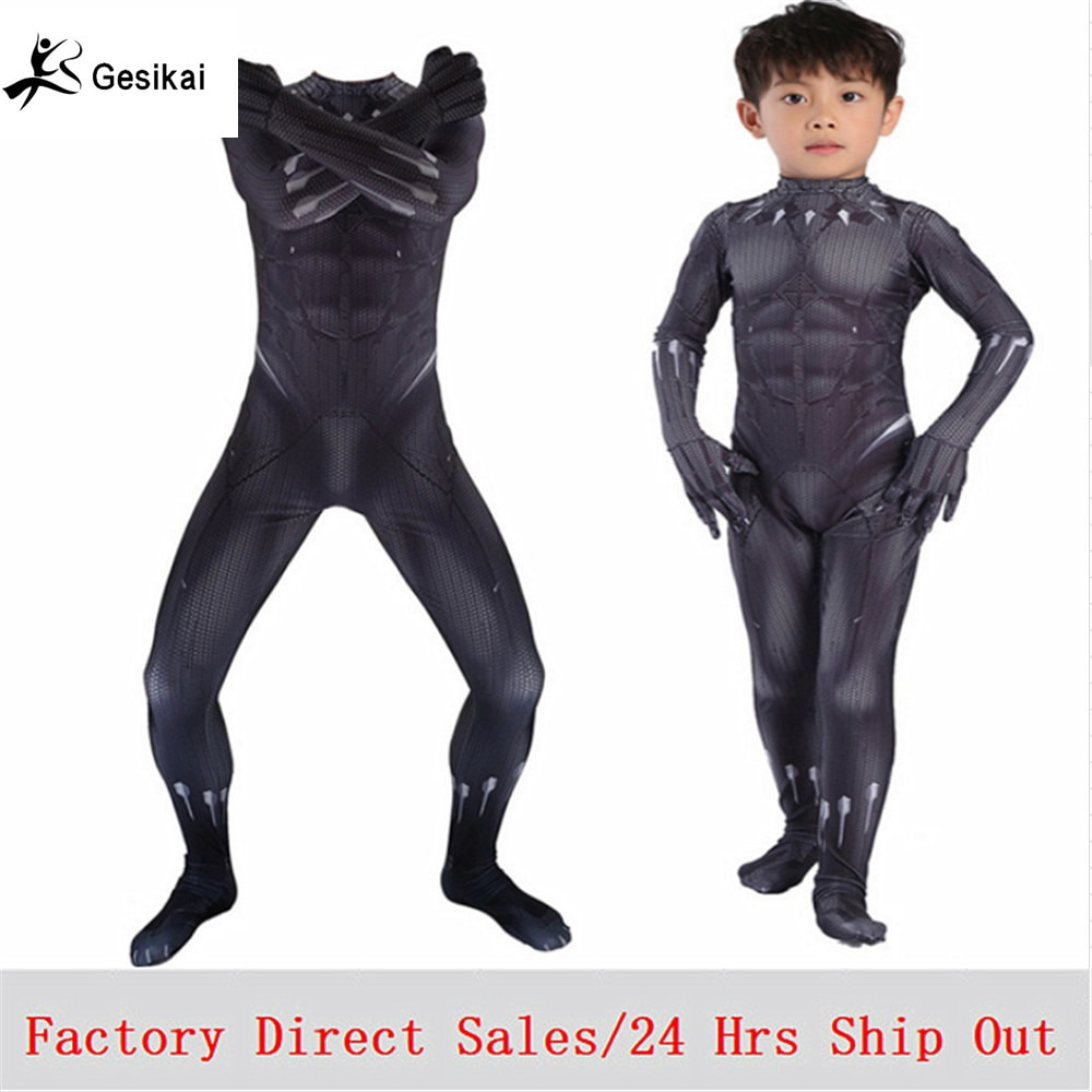 Disfraz para niños de Capitán América guerra Civil, disfraz de Pantera Negra TChalla para niños, monos de pantera negra de Anime para Halloween