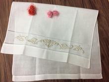 Ensemble de 12 serviettes de thé en lin 14x22 pouces   Service à la main, serviette de cuisine, serviette de salle de bain, broderie florale