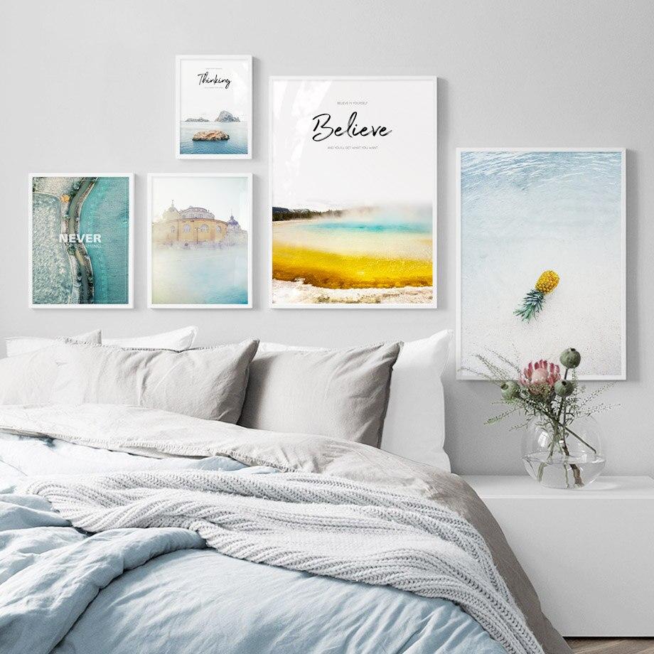 Volcano Paisaje del mar, citas, cuadro sobre lienzo para pared, carteles nórdicos e impresiones, imágenes de pared de piña para decoración para sala de estar