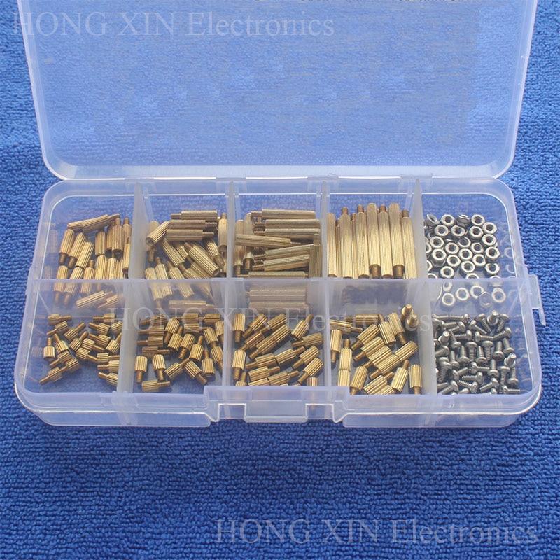 260Pcs/M2 PCB Threaded Brass Male Female Standoff Spacer Board Hex Screws Nut Assortment Box kit set