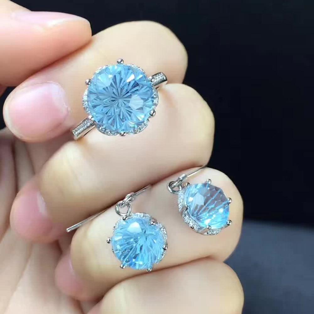 SGARIT gemstone jewellery factory wholesale big stone jewelry natural crystal blue topaz 925 sterling silver jewelry set women