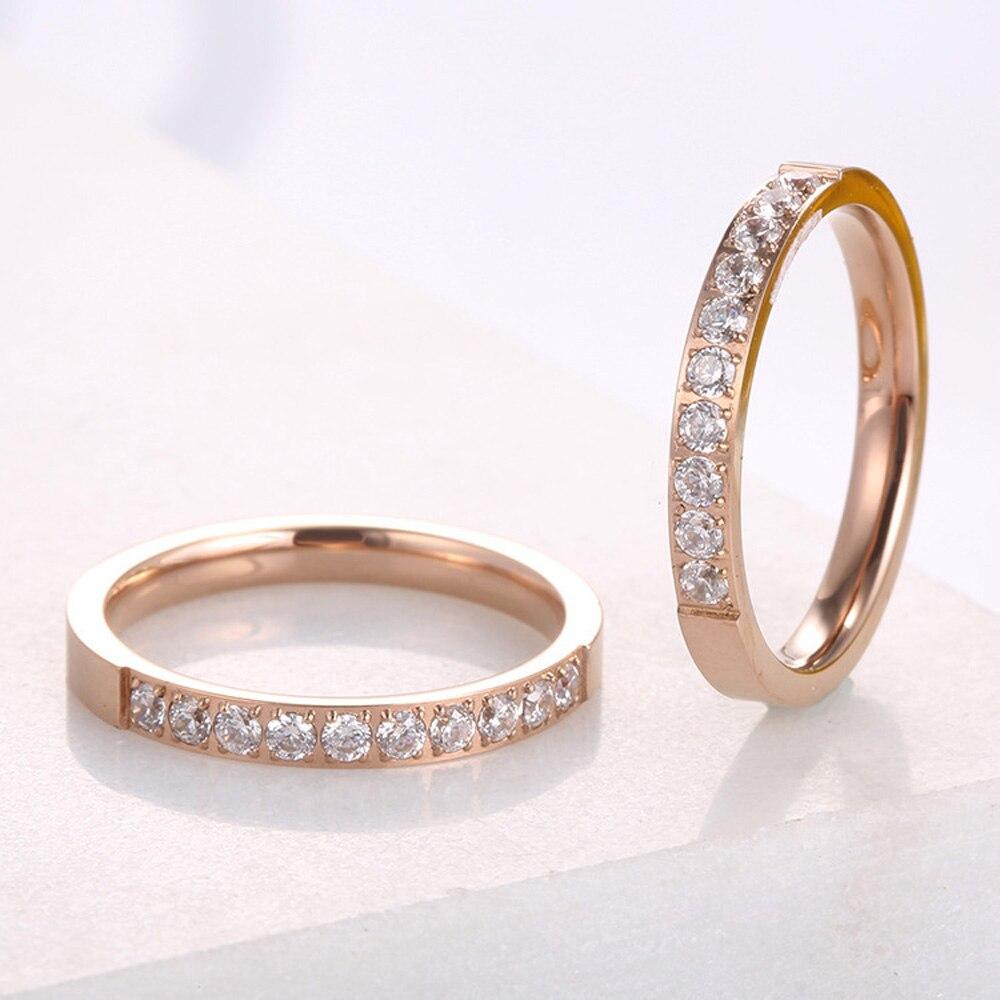 Klop Hoge Kwaliteit Rose Gold Kleuren Aaa Zirconia Ringen Voor Vrouw Man Wedding Rvs Valentine Gift Niet Vervagen Sieraden