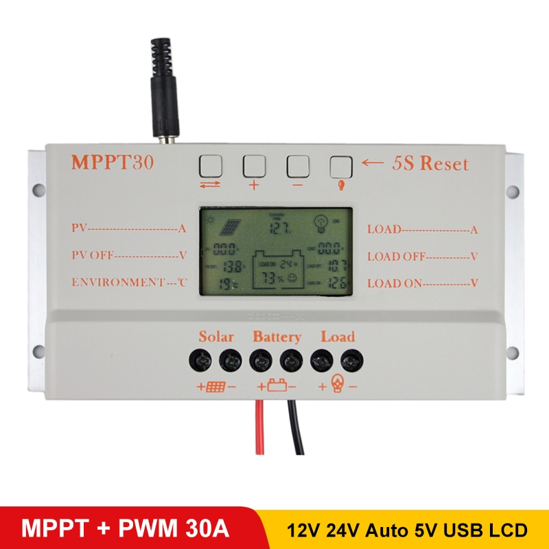 Солнечный контроллер MPPT 30 а, с выходом USB 5 В, 12 В, 24 В, панель солнечных батарей, ЖК-зарядное устройство, контроллеры, 30 А, солнечный регулятор ...
