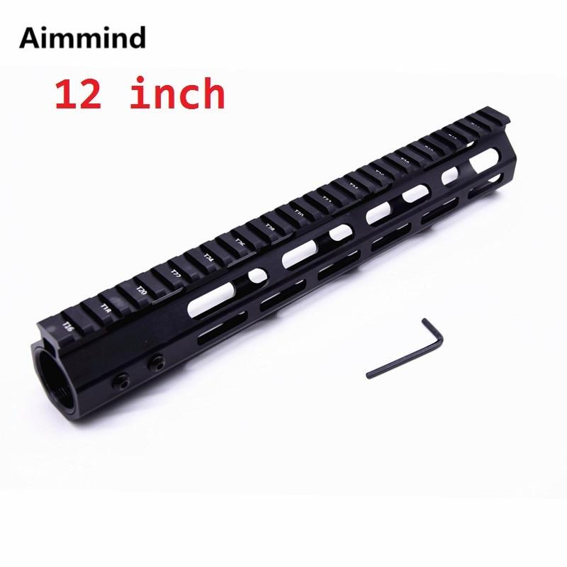 12 inch MLOK handguard Free Float Super Slim ar 15 Handguard Quad Rail W/ Nut for M4 M16