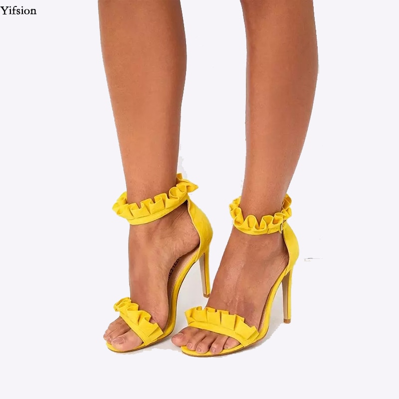 Olomm mulher gladiador babados sandálias stiletto saltos sandálias dedo do pé aberto rosa amarelo preto vinho vermelho sapatos feminino eua mais tamanho 5-15
