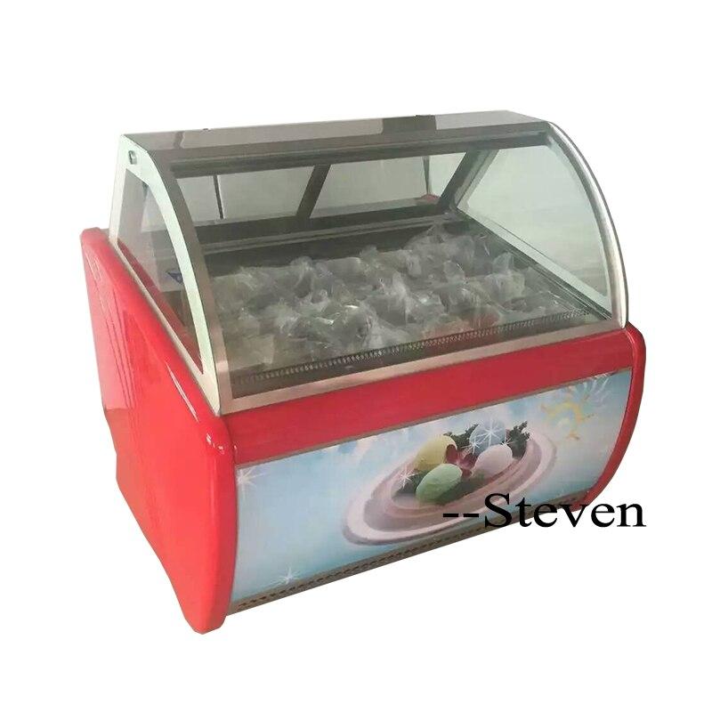 Prix usine-22 degrés 950W 14 casseroles crème glacée affichage congélateur crème glacée congélateur armoire/mini crème glacée garniture affichage congélateur