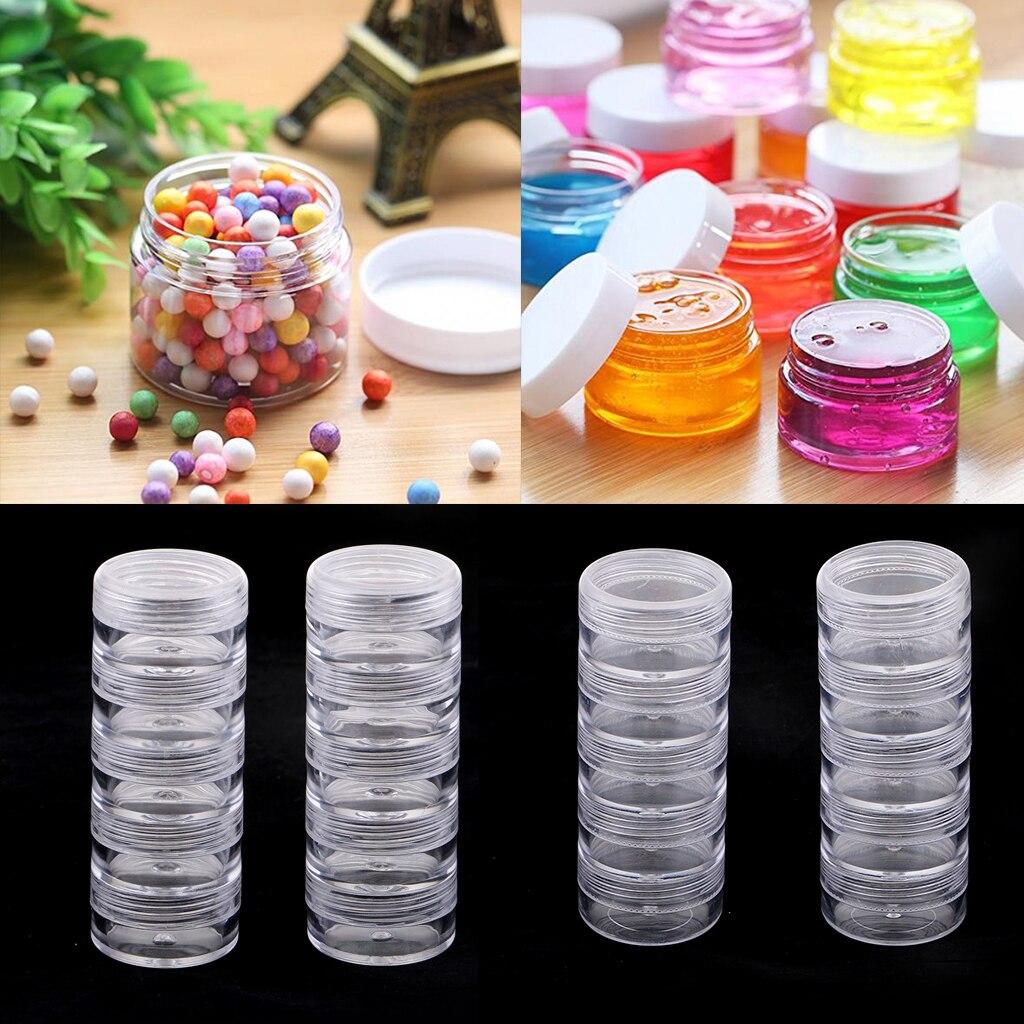 2 juegos de 10 Uds de cajas apilables con tapa de tornillo contenedor apilable para guardar bálsamo, artesanías, crema, pequeñas artesanías