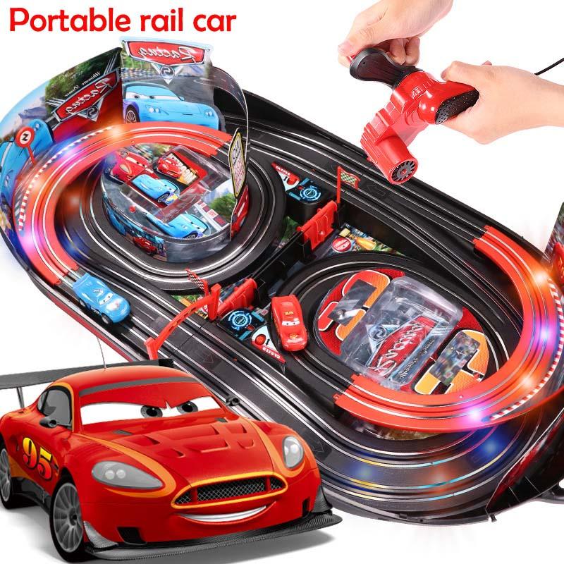 Conjunto creativo para niños, juguete educativo, coche, interacción entre padres e hijos, carril portátil, juego de batalla dual, pista de juguete, coche de juguete con LED