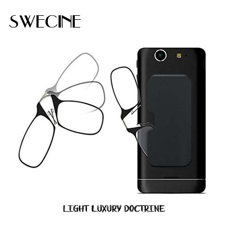 Swecine clip nose mini óculos de leitura para mulher óculos ópticos para homem com caixa carteira óculos de prescrição