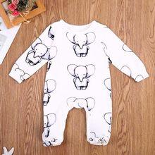 Vêtements mignons pour nouveau-né   Vêtements en coton pour bébés garçons et filles, barboteuse pour bébés en forme petit éléphant, tenues de vêtements 2017