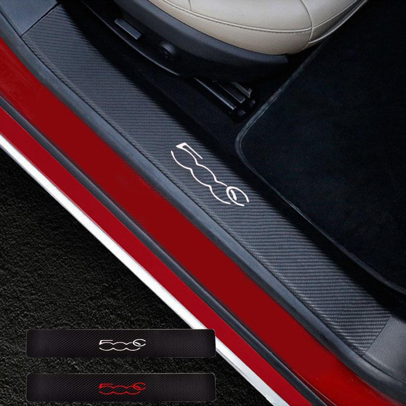 2PCs Door Threshold Guard For Fiat 500C Car Door Sill Scuff Plate Protector Carbon Fiber Pu leather
