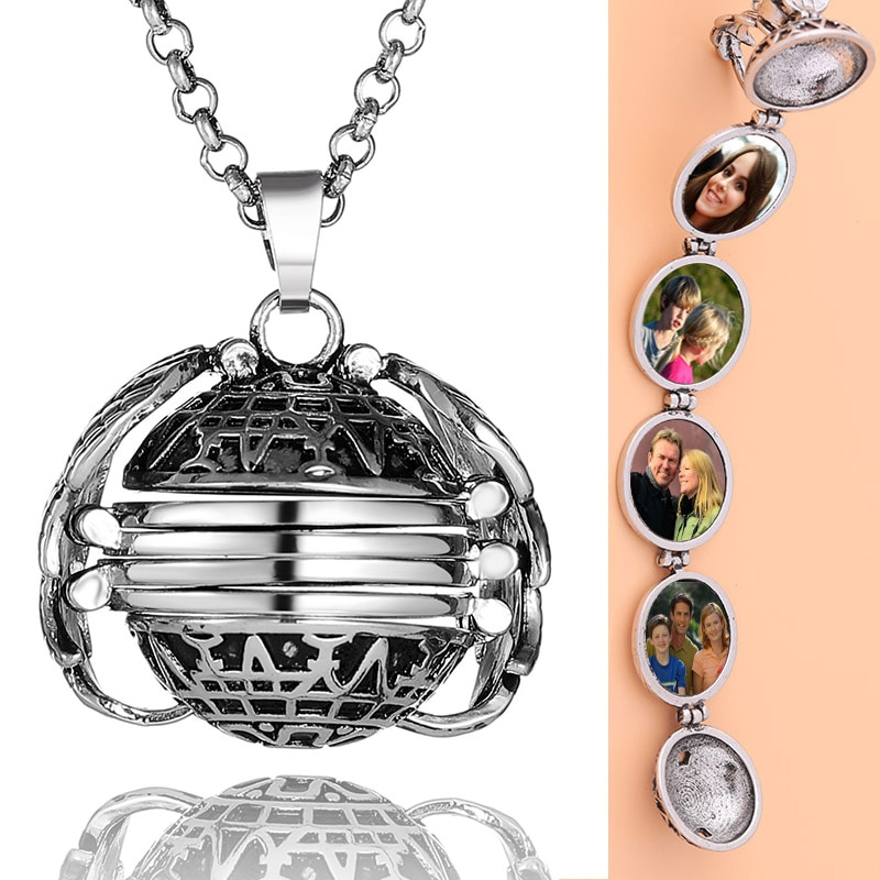 DIY Flash Memory Photo Pendant Jewelry Antique Metal Four-Color Angel Wings Locket Necklace Fashion
