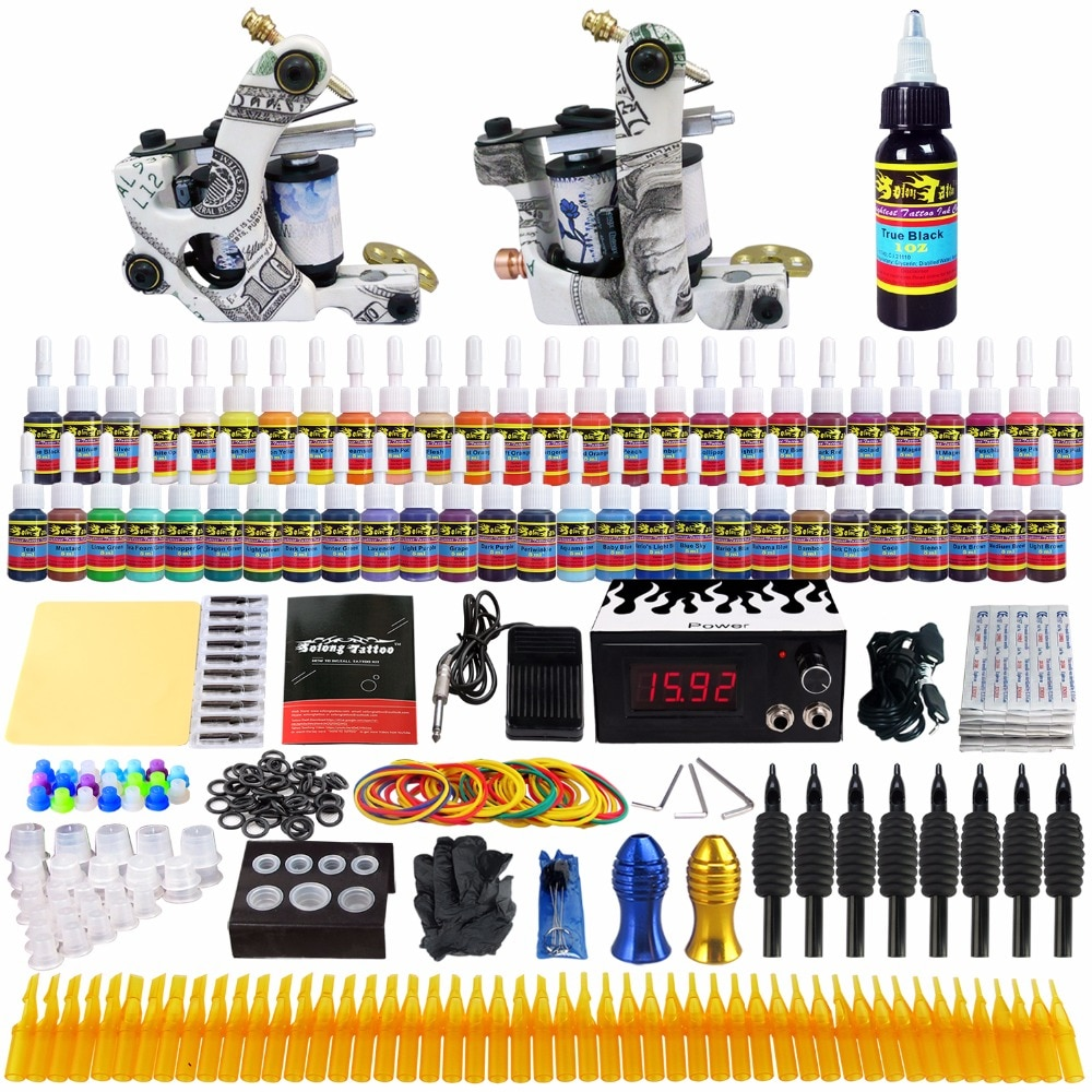 Solong тату топ продаж Полный комплект татуировки 2 Pro Пулеметы 54 Чернила источник питания Иглы ручки TK252US