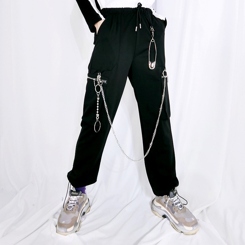 Harajuku Hosen Frauen Hohe Taille Kette und Pin Dekoration Lose Kordelzug Hip Hop Casual Hosen Punk Gothic Mode