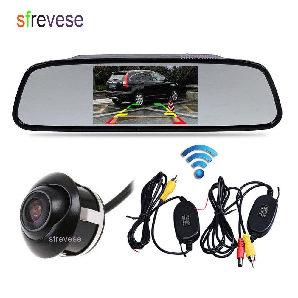 "4,3 ""LCD Monitor espejo Kit de visión trasera de coche + visión nocturna marcha atrás cámara de respaldo de estacionamiento 360 grados giran impermeable"