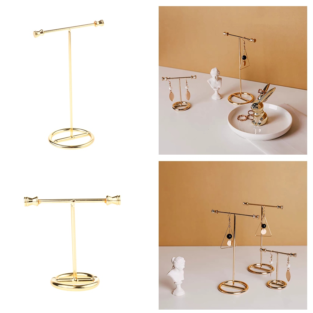 Gold Earring Rack Jewelry Organizer Holder Display Stand Jewelry Display Stand Showing Rack wholesale 10pcs hat display stand stainess steel cap display rack adjustable metal men women s wig hairpiece holder showing prop