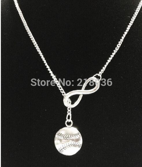 Lariat infinidad béisbol Softball collares colgante mujer amuletos plata vintage gargantilla cadena collar joyería regalos de moda