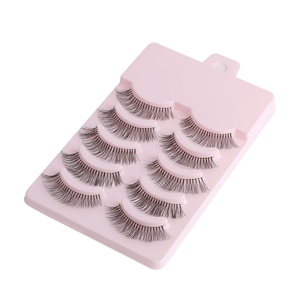 5Pairs Women Fashion Makeup False Eyelashes Sparse Cross Natural Black Long Fake EyeLashes Extension Beauty Tool For Party Daily