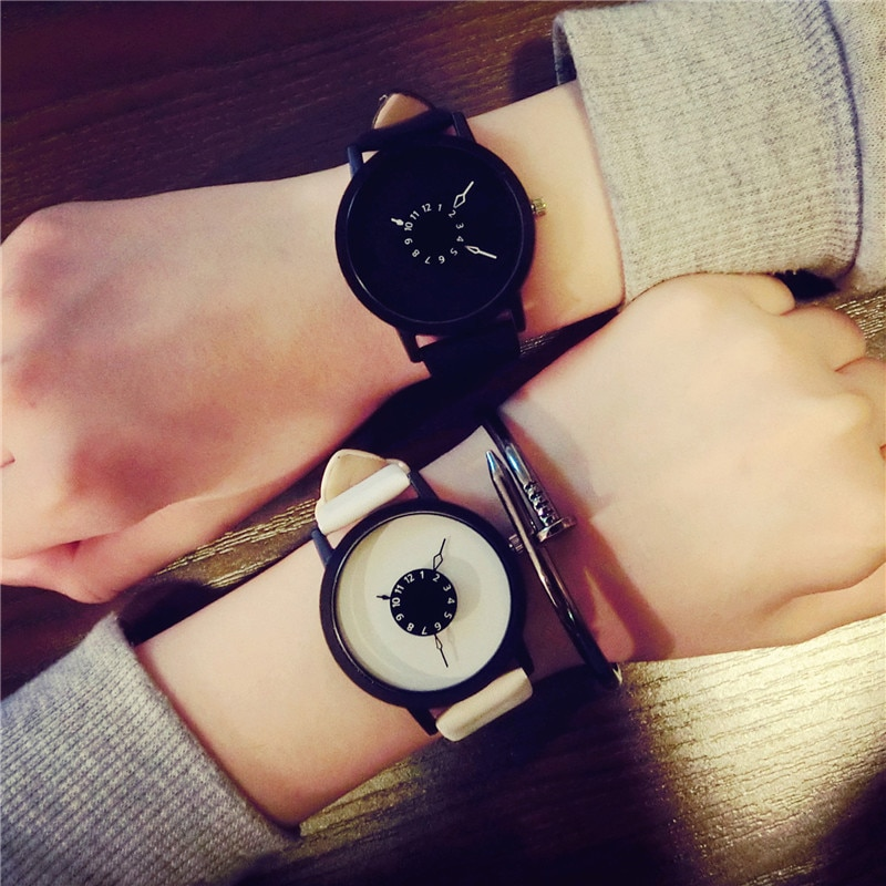 ccq brand unisex vintage cow leather simple bracelet watch women men casual leather quartz wristwatches clock gift drop shipping Hot Fashion Drop Shipping Creative Watches Minimalist Style Men Women Quartz Watch Simple Female Clock Leather Wristwatches