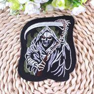 Prajna Grim Reaper Punk calavera hierro en parches para ropa bordado Biker parches apliques para chaleco Jack Back parche insignias DIY