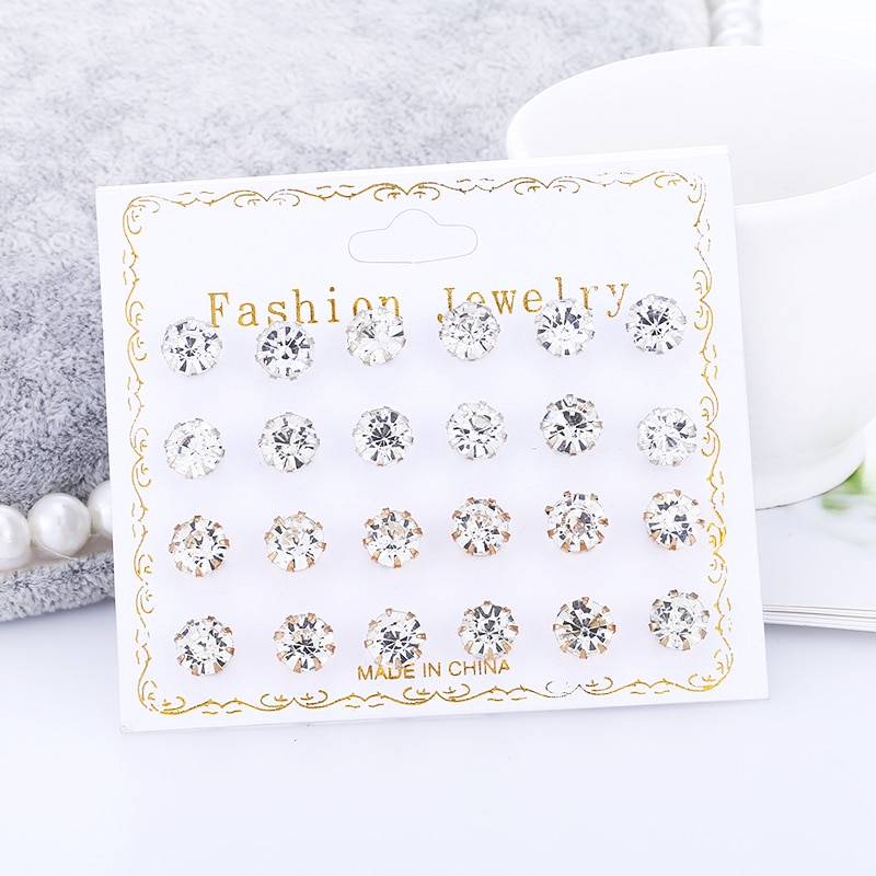 12par/pacote cz brilhante casamento redondo brincos, conjunto para mulheres cristal 2019 jóias acessórios brinco aaa + amostra orelha estudos de aluno