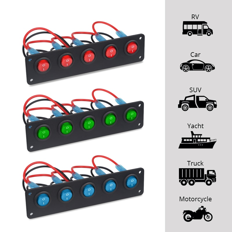 Waterproof 5 Gang ON-Off Button Toggle Rocker Switch Panel Circuit Breakers Marine Boat LED Switch Panel Car 12v 24V