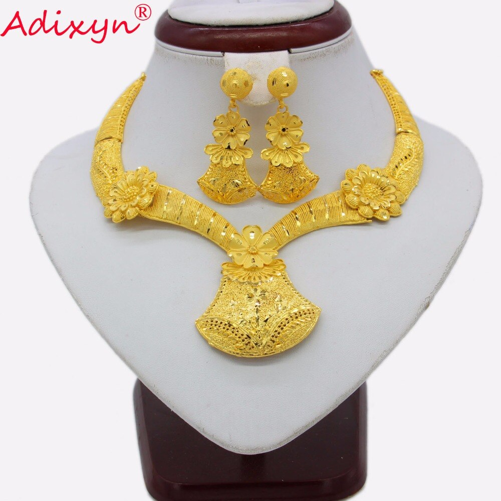Adixyn Pliability Necklace/Earrings Jewelry Set for Women Gold Color Trendy Jewelry Ethiopian/African Wedding/Party Gifts N03166