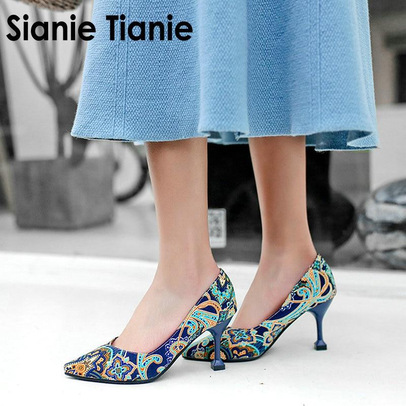 Sianie Tianie 2020 Nieuwe Bohemian Paisley Bloem Afdrukken Ondiepe Vrouw Jurk Schoenen Mode Vrouwen Pompen Stiletto Plus Size 33-48