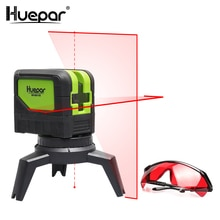 Láser de línea roja Huepar 2 líneas Nivel 2 puntos láser Horizontal Vertical autonivelante 2 uds Bases magnéticas + lentes con láser rojo