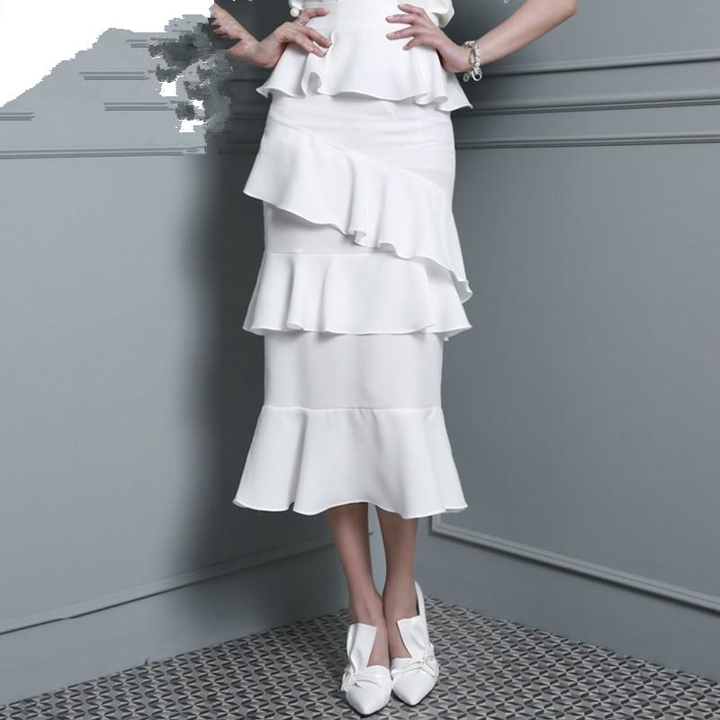 Customize womens elegant High waist fishtail cake skirt Ladies slim OL Layer upon layer ruffles midi chiffon skirts with strokes