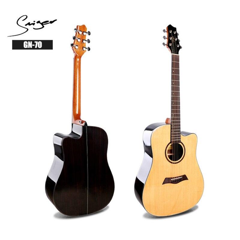Guitare acoustique électrique acier-ficelle aplatie 41 pouces d-body Guitarra 6 cordes Folk Pop coupe haute brillance épicéa palissandre