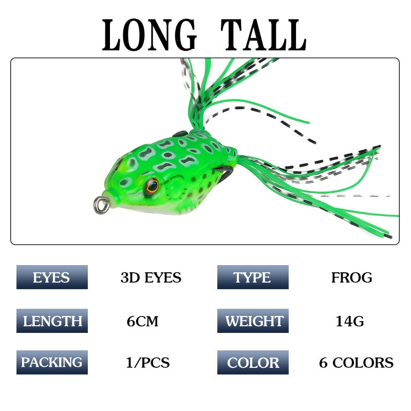 6Pcs/lot 6cm 14g Isca Artificial Frog Wobblers Soft Fishing Lure With Bass Hook For Sea 3D Eyes Lifelike Soft Bait enlarge