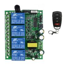 RF Sistema de Controle Remoto Sem Fio de casa inteligente 220 v 4CH/Radio switch remoto receptor da porta da garagem portão 433 mhz 315 mhz